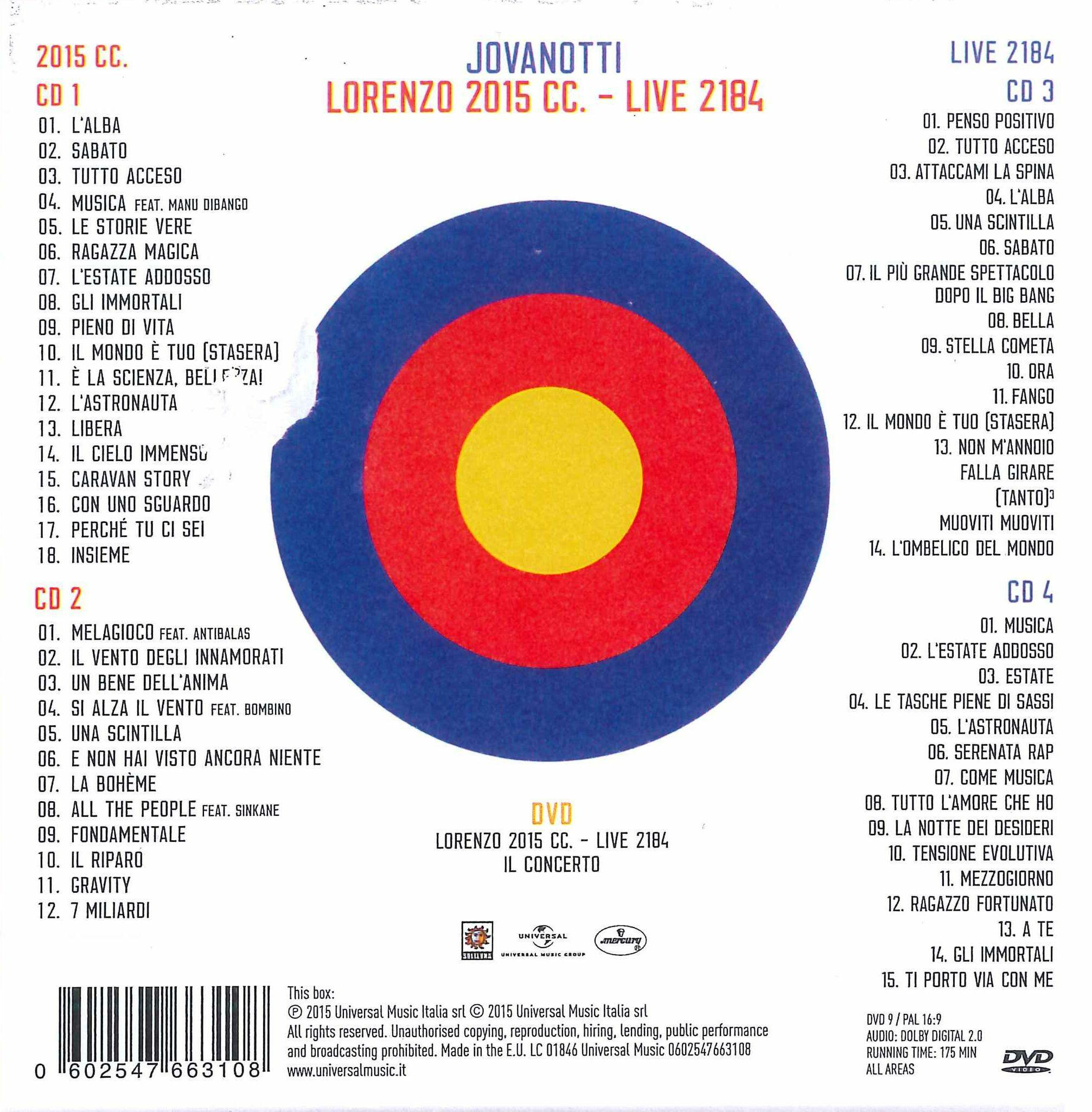 Lorenzo 2015 cc live 2184 jovanotti cd ibs for Ultimo cd di jovanotti