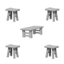 Um Wooden Table & Stools