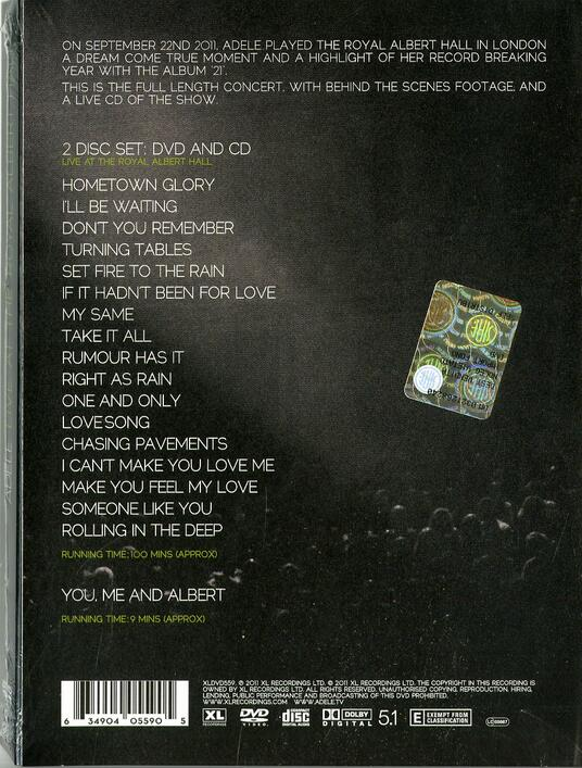 Live at the Royal Albert Hall - CD Audio + DVD di Adele - 2