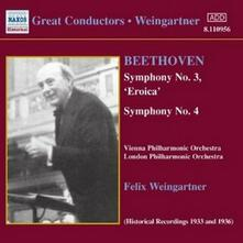 Sinfonie n.3, n.4 - CD Audio di Ludwig van Beethoven,London Philharmonic Orchestra,Wiener Philharmoniker,Felix Weingartner