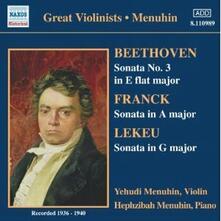 Sonate per violino - CD Audio di Ludwig van Beethoven,César Franck,Guillaume Lekeu,Yehudi Menuhin