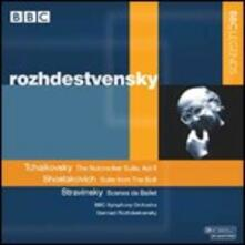 Lo schiaccianoci suite / The Bolt suite / Scène de ballet - CD Audio di Dmitri Shostakovich,Igor Stravinsky,Pyotr Ilyich Tchaikovsky,BBC Symphony Orchestra,Gennadi Rozhdestvensky