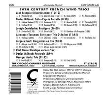 20th Century French Wind Trios - CD Audio