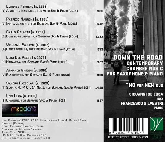 Down the Road. Chamber Music for Saxophone and Piano - CD Audio di Two for New Duo - 2