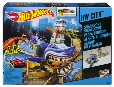 Hot Wheels. Playset squalo e spiaggia