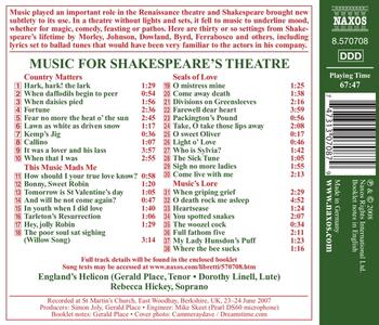 Music for Shakespeare's Theatre - CD Audio - 2
