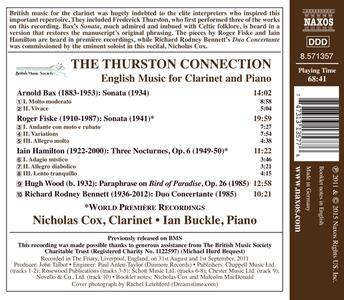 The Thurston Connection. Musica inglese per clarinetto e pianoforte - CD Audio di Nicholas Cox,Ian Buckle - 2