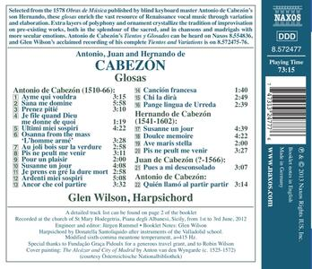 Glosas - CD Audio di Antonio de Cabezón - 2
