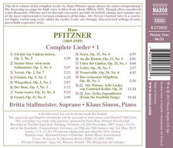 Lieder completi vol.1 - CD Audio di Hans Pfitzner,Britta Stallmeister - 2