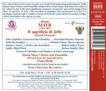 Il sagrifizio di Jefte - CD Audio di Johann Simon Mayr - 2