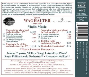 Concerto per Violino e Orchestra Op.15, Rapsodia Op.9 - CD Audio di Ignatz Waghalter - 2