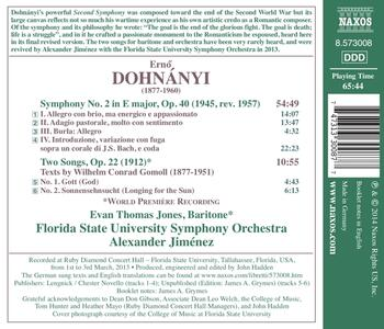 Sinfonia n.2 in Mi maggiore op.40 - 2 Lieder per baritono e orchestra op.22 - CD Audio di Erno Dohnanyi - 2