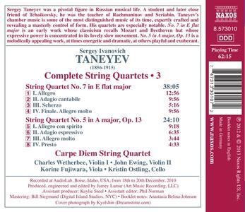 Quartetti per archi vol.3 - CD Audio di Sergei Ivanovich Taneyev - 2