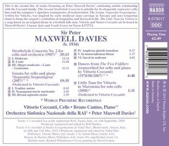 Strathclyde Concerto n.2; Sonata per Violoncello 'sequentia Serpentigena' - CD Audio di Sir Peter Maxwell Davies - 2