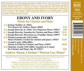 Ebony and Ivory. Musica per clarinetto e pianoforte - CD Audio di Warren Lee,Andrew Simon - 2