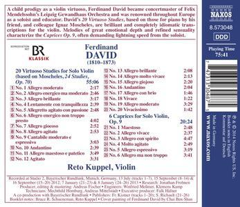 Opere per violino solo - CD Audio di Ferdinand David - 2
