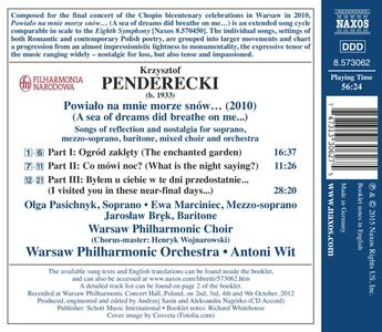 A Sea of Dreams Did Breathe on Me - CD Audio di Krzysztof Penderecki - 2