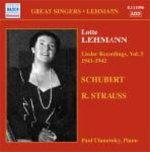 Lieder Recordings vol.5 1941-1942 - CD Audio di Lotte Lehmann