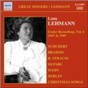 Lieder Recordings vol.6 1947, 1949 - CD Audio di Lotte Lehmann