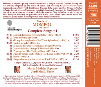 Opere vocali vol.1 - CD Audio di Frederic Mompou - 2