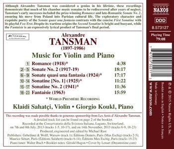 Musica per violino e pianoforte - CD Audio di Alexandre Tansman - 2