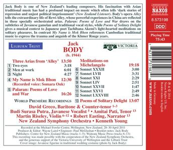 Poems of Love and War - CD Audio di Jack Body - 2