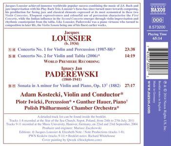 Concerto n.1 per violino e percussioni - Concerto n.2 per violino e tabla / Sonata in La minore per violino e pianoforte op.13 - CD Audio di Jacques Loussier,Ignace Jan Paderewski - 2