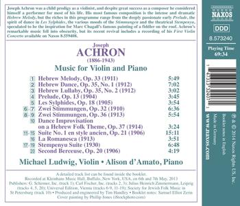 Opere per violino e pianoforte - CD Audio di Joseph Achron - 2