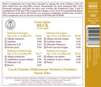 Sinfonie op.3 n.6, op.4 n.1, n.2, n.3 - CD Audio di Franz Ignaz Beck - 2
