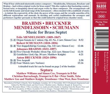 Trascrizioni per ensemble di ottoni - CD Audio di Johannes Brahms,Anton Bruckner,Robert Schumann,Felix Mendelssohn-Bartholdy,Septura - 2