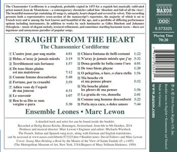 Straight from the Heart. The Chansonnier Cordiforme - CD Audio - 2