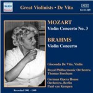 Concerto per violino / Concerto per violino n.3 - CD Audio di Johannes Brahms,Wolfgang Amadeus Mozart,Gioconda De Vito