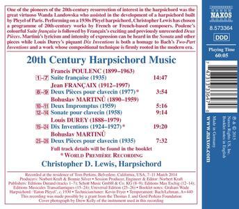 Musica per clavicembalo del XX secolo - CD Audio di Francis Poulenc,Bohuslav Martinu,Jean Françaix,Louis Durey - 2