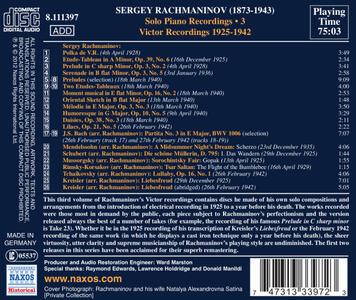 Solo Piano Recordings vol.3 - CD Audio di Sergej Vasilevich Rachmaninov - 2
