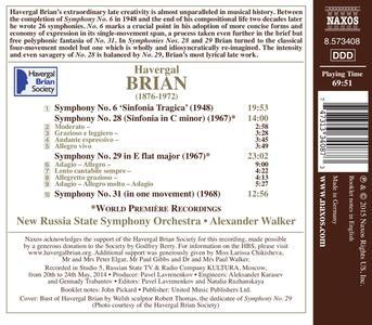 Sinfonie n.6, n.28, n.29 & n.31 - CD Audio di Havergal Brian,Russian State Symphony Orchestra - 2