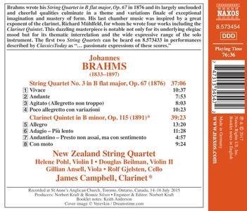 Quartetto per archi - Quintetto con clarinetto op.115 - CD Audio di Johannes Brahms,New Zealand String Quartet - 2