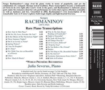 Trascrizioni rare per pianoforte - CD Audio di Sergej Vasilevich Rachmaninov,Julia Severus - 2