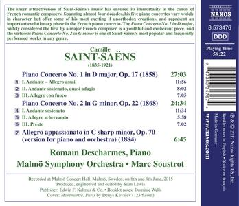 Concerto per pianoforte n.1, n.2 - CD Audio di Camille Saint-Saëns,Malmö Symphony Orchestra,Marc Soustrot - 2