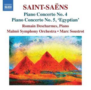 Concerto per pianoforte n.4 op.44, n.5 op.103 Egiziano - CD Audio di Camille Saint-Saëns,Romain Descharmes