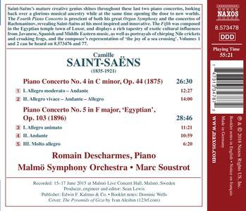 Concerto per pianoforte n.4 op.44, n.5 op.103 Egiziano - CD Audio di Camille Saint-Saëns,Romain Descharmes - 2