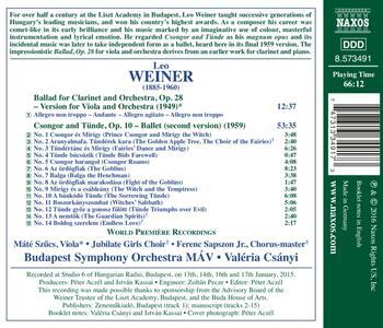 Csongor and Tünde. Ballata per Viola e Orchestra - CD Audio di Leo Weiner - 2