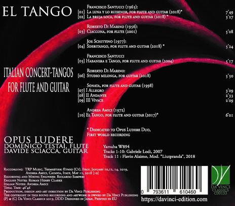 El Tango - Italian Concert - Tangos per flauto e chitarra - CD Audio di Opus Ludere - 2