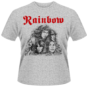 Idee regalo T-Shirt unisex Rainbow. Long Live Rock & Roll Grey Front & Back Print Plastic Head