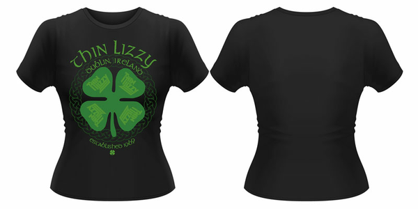 Idee regalo T-Shirt donna Thin Lizzy. Four Leaf Clover Plastic Head