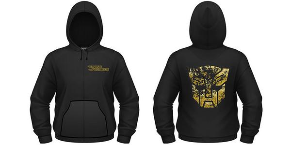 Idee regalo Felpa con Cappuccio e Zip Transformers. Gold Autobot Shield Plastic Head