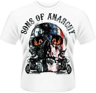 Idee regalo T-Shirt uomo Sons of Anarchy. Flame Skull Plastic Head