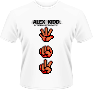 Idee regalo T-Shirt uomo Sega. Alex Kidd Paper Rock Scissors Plastic Head