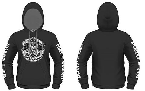 Idee regalo Felpa con Cappuccio Sons Of Anarchy. Reaper Banner Plastic Head