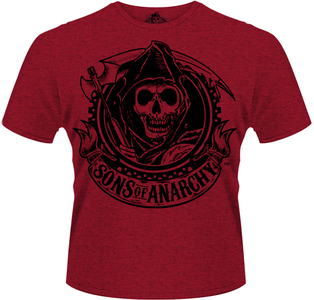 Idee regalo T-Shirt uomo Sons of Anarchy. Reaper Banner Plastic Head