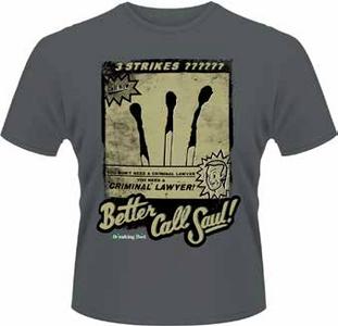Idee regalo T-Shirt uomo Breaking Bad. Better Call Saul, Three Strikes Plastic Head